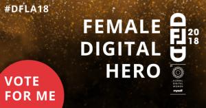 Digital Female Leader Award Plakat mit Aufforderung für einen zu voten als #DigitalHero