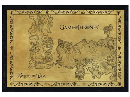 black wooden framed game of thrones map