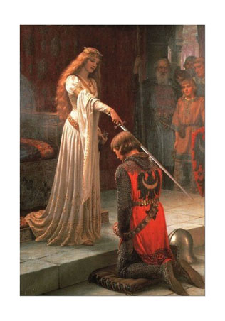 Knight kneeling before his lady