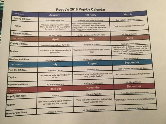 Peggy's 2016 Popby Calendar