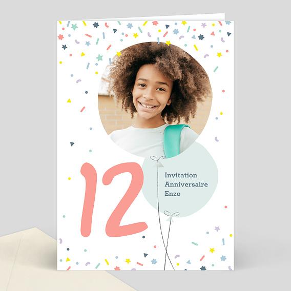 Invitation Anniversaire Enfant 12 Ans Popcarte