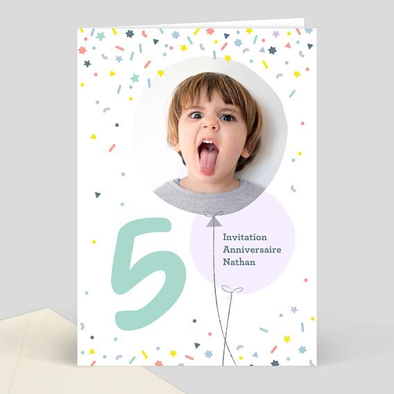 Invitation Anniversaire Enfant 5 Ans Popcarte