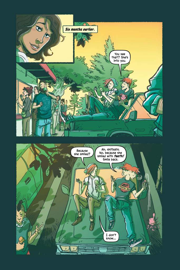 Sneak Peak page 62 of graphic novel. Alec and his twin brother are sitting on the hood of their car talking about a girl who smiled at Alec.