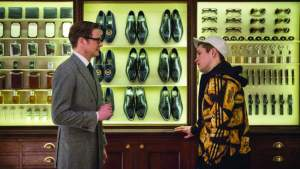 Colin Firth (left) and Taron Egerton in Kingsman: The Secret Service