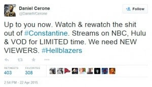 Producer/writer Daniel Cerone's Tweet