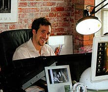 Turner at his drawing board, as seen in the posthumous Soulfire #8 (April 2009)