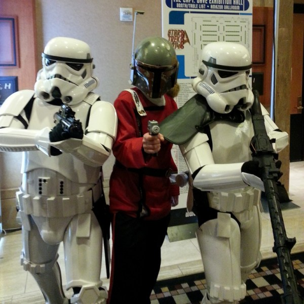 "Stormtroopers pose with Boba ""Fleet"" Fett."