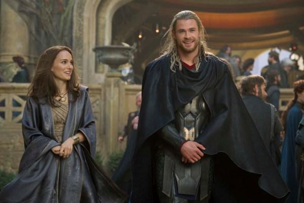 Chris Hemsworth as Thor and Natalie Portman as Jane Foster in the upcoming superhero movie Thor: The Dark World