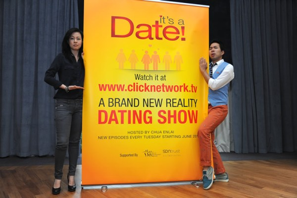 Founder of clicknetwork.tv, Ms Gillian Tan, collaborates with local comedian, Chua Enlai, to launch Singapore's first ever online reality dating show, It's a Date!