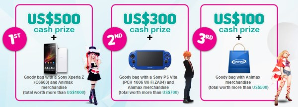 Animax Carnival Malaysia 2014 Cosplay Competition Prizes