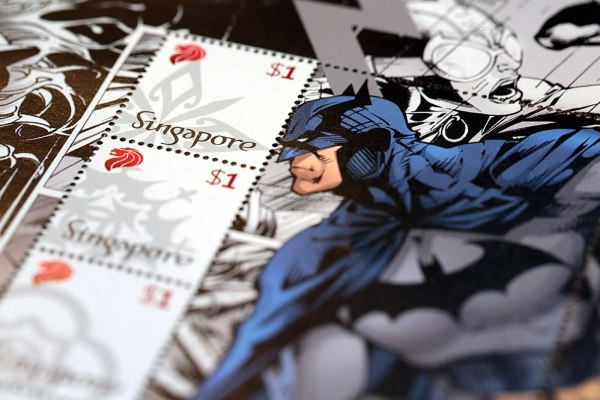 SingPost DC Comics Justice League & Batman 75th Anniversary MyStamp Collection Batman Stamps Close Up
