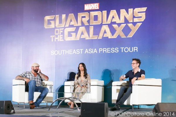 Marvel's Guardians of the Galaxy Southeast Asia Press Conference - James Gunn Zoe Saldana Dave Bautista