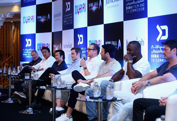 DUBAI, UNITED ARAB EMIRATES - SEPTEMBER 30:L-R: Executive Producer Jeffrey Chernov, Writer Douglas Jung, Director and Producer Justin Lin, Chris Pine, Writer and Actor Simon Pegg, Zachary Quinto, Idris Elba, Karl Urban attend a press conference promoting 'Star Trek Beyond' at Burj Al Arab on September 30, 2015 in Dubai, United Arab Emirates. (Photo by Francois Nel/Getty Images for Paramount Pictures)