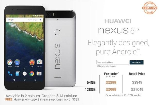 Pre-Order Huawei Nexus 6P Lazada over at http://www.lazada.sg/nexus-6p/