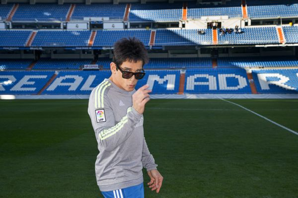 Derek Zoolander visits Real Madrid Stadium in Madrid, Spain