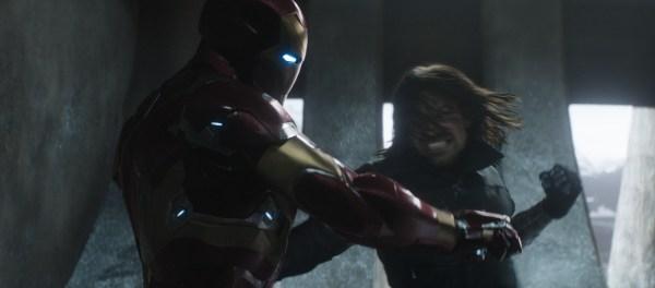 Marvel's Captain America: Civil War..L to R: Iron Man/Tony Stark (Robert Downey Jr.) and Winter Soldier/Bucky Barnes (Sebastian Stan)..Photo Credit: Zade Rosenthal..© Marvel 2016