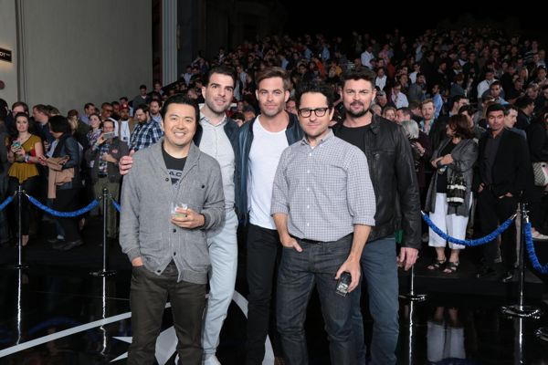 "Justin Lin, Zachary Quinto, Chris Pine, JJ Abrams, and Karl Urban attend the unveiling of the newly named ""Leonard Nimoy Way"" during the Star Trek Beyond Fan Event at Paramount Pictures Studios in on May 20, 2016 in Hollywood, California. (Photo: Alex J. Berliner/ABImages)"