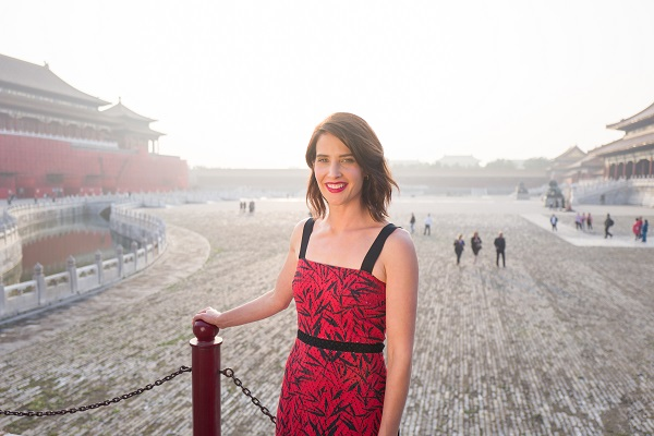 "BEIJING, CHINA - OCTOBER 11: Cobie Smulders visits the Forbidden City during the promotional tour of the Paramount Pictures title ""Jack Reacher: Never Go Back"", on October 11, 2016 in Beijing, China. (Photo by Lucian Capellaro for Paramount Pictures) *** Local Caption *** Cobie Smulders"
