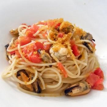 Spaghettini Carla Latini, pomodorini, cozze, bottarga