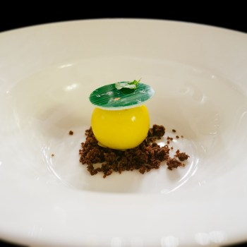 Cremoso di avocado glassato al passion fruit