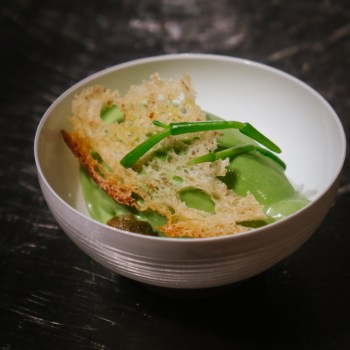 Gelato alle alghe, salicornia, capperi, pane