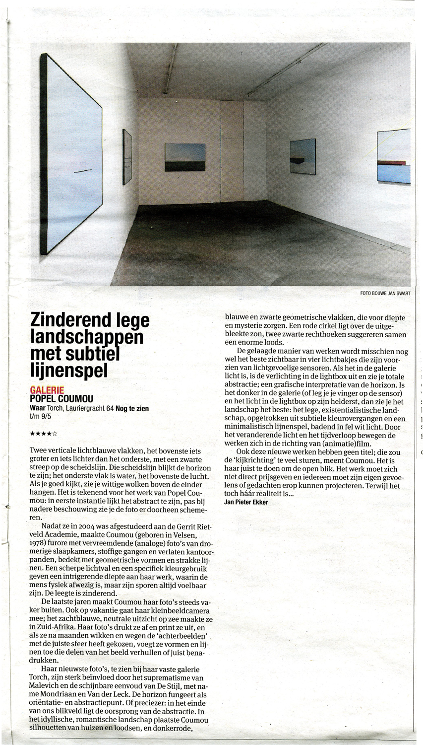 Het Parool May 1st 2015 By Jan Pieter Ekker 4 start rating about my show in TORCH Gallery