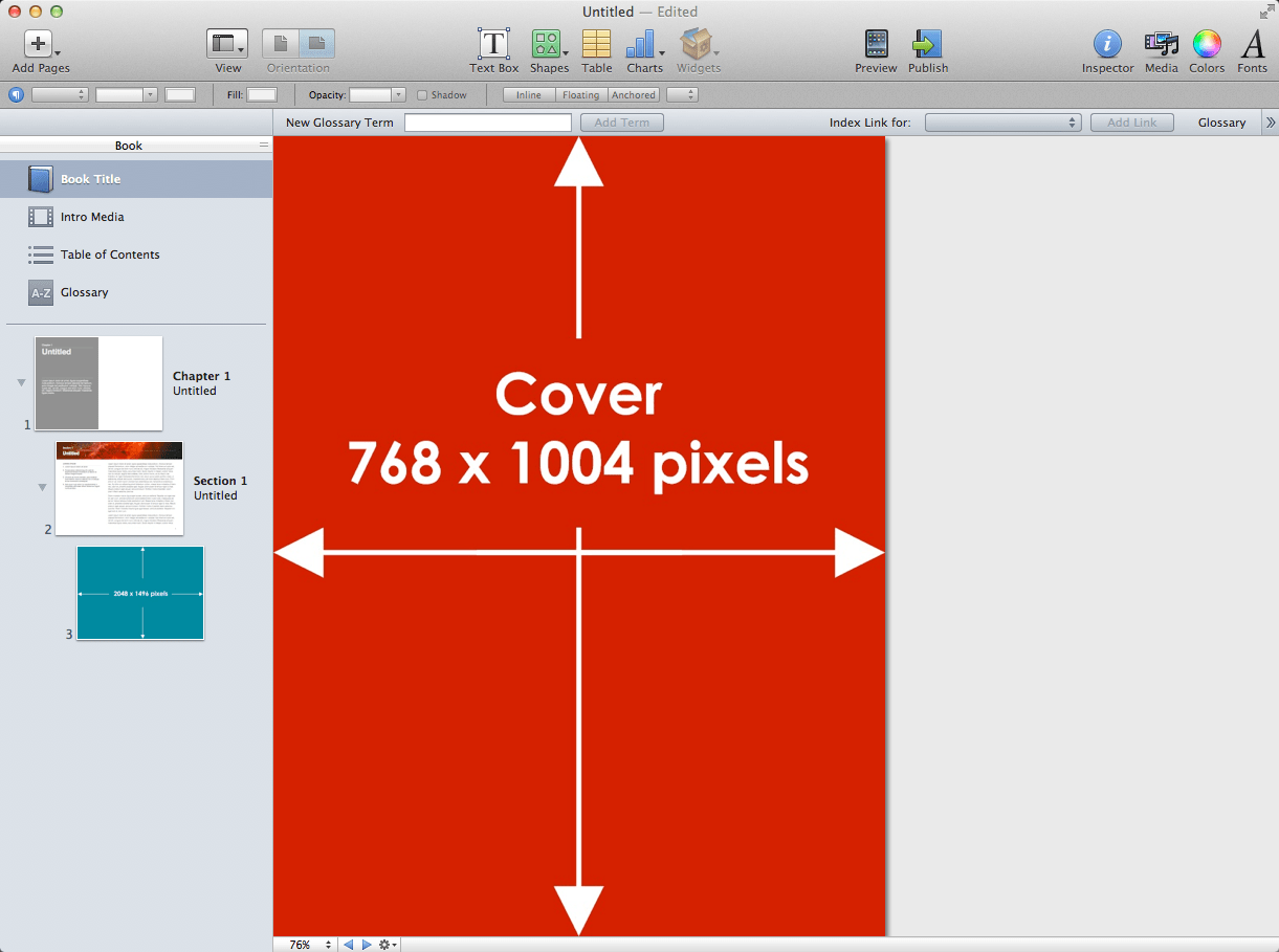iBooks Author Image Sizes for Fixed Layout Picture Books