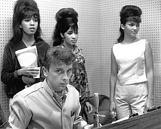 The Ronettes -- Estelle, Ronnie & Nedra -- with Phil Spector in L.A. recording studio, 1963.