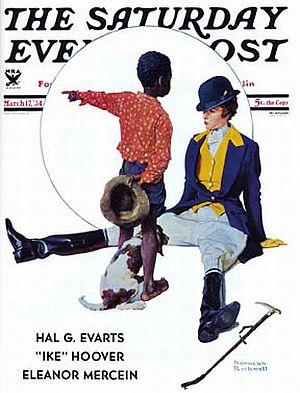 """Thataway"" - March 1934 Saturday Evening Post cover; example of early ""rule"" on African American depiction."