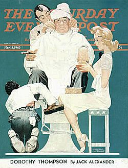 "Rockwell's ""Full Treatment"" SEP cover of May 1940 includes black shoe shine boy."