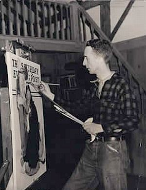1940s: Norman Rockwell at work on a magazine cover.