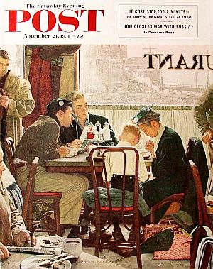 "Norman Rockwell's ""Saying Grace,"" SEP cover art of Nov 24, 1951 and a fan favorite, depicts an older women and young boy giving thanks for their meal at a shared table amid busy scene in a working class restaurant."