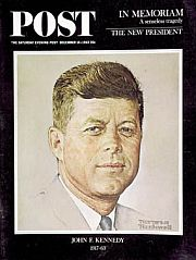 Rockwell's last cover for the Post, Dec 1963, an earlier JFK portrait.