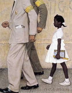 """Detail from Rockwell painting: note """"K.K.K."""" on upper left wall."""