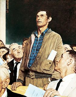 """Freedom of Speech"" was one of a Rockwell's ""Four Freedoms"" series admired by African American activist Roderick Stephens, who urged Rockwell in 1943 to do a similar series to promote racial tolerance."