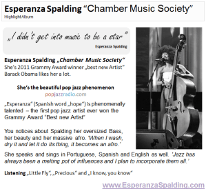 Esperanza Spalding Chamber Music Society Highlight Album pop jazz radio