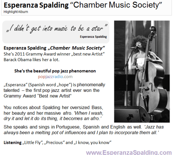 Esperanza Spalding pop jazz radio highlight