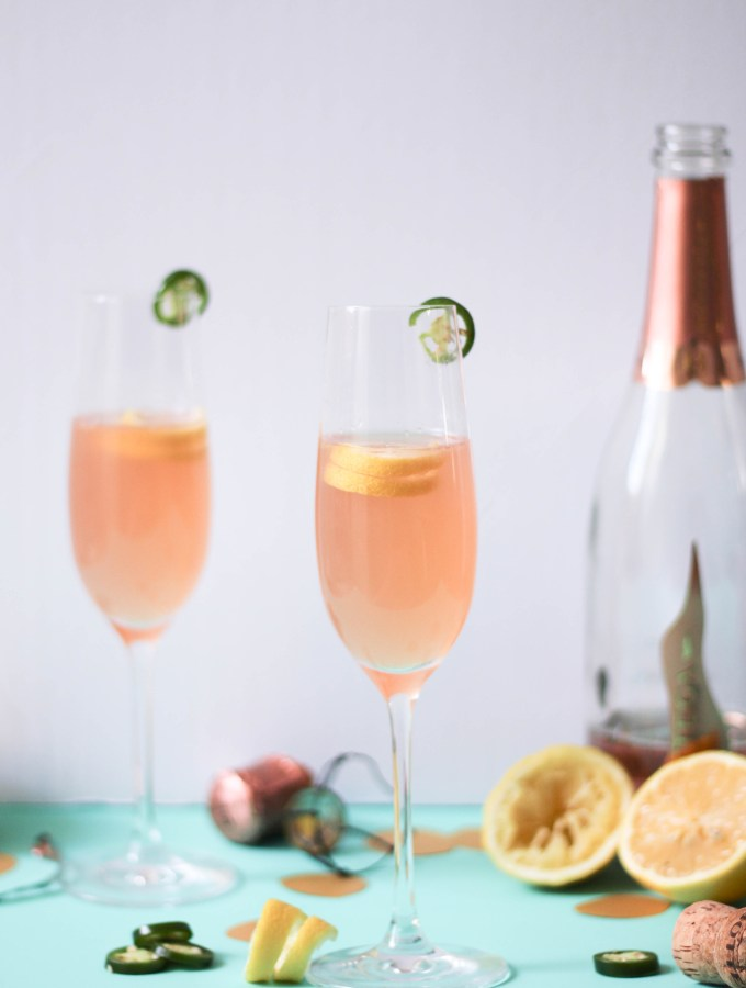 Spicy Rose Gin Champagne Cocktails
