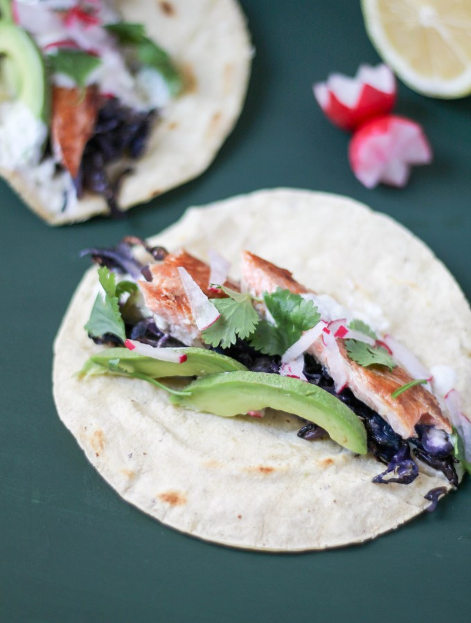 Smoked Rainbow Trout Tacos with Ginger Cream