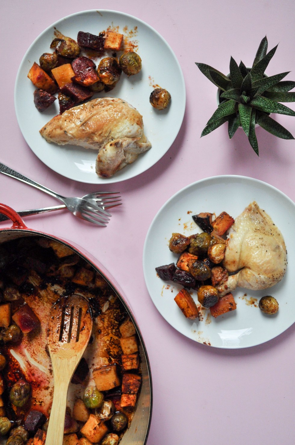 A no fuss roasted chicken + paprika root vegetables, beets and rutabagas, plus brussels for good measure. Colorful veg basted in all the chicken juices.
