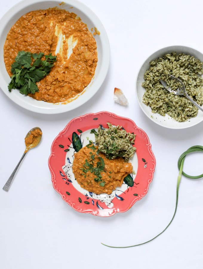 Coconut Curry Lentils and Kohlrabi with Garlic Scape Green Rice // POP KITCHEN