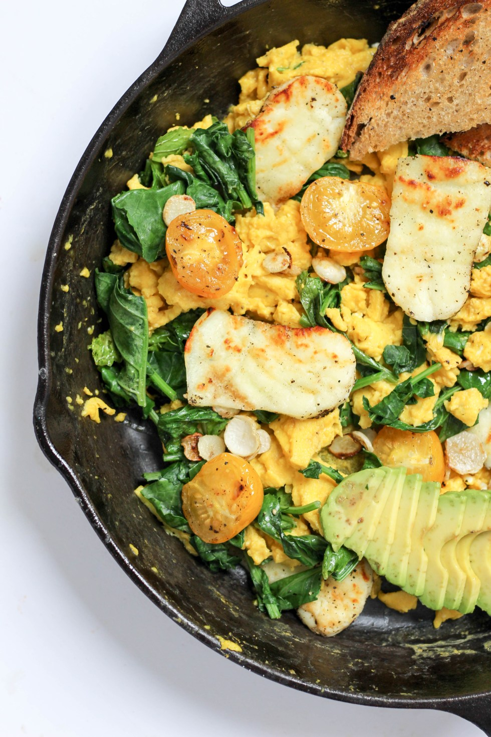 farmer's market scramble with grilled halloumi, mustard greens, tomatoes, avocado, and turnip greens // POP KITCHEN
