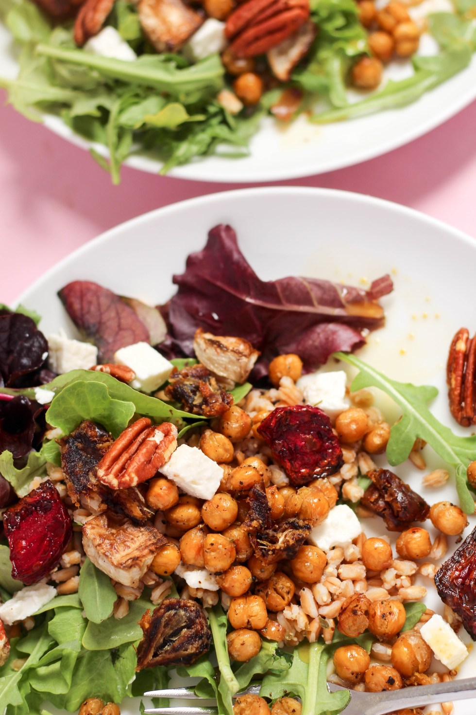 Hearty Farro Beet Salad with roasted turnips and beets, crispy chickpeas, feta, chopped dates, and arugula // POP KITCHEN