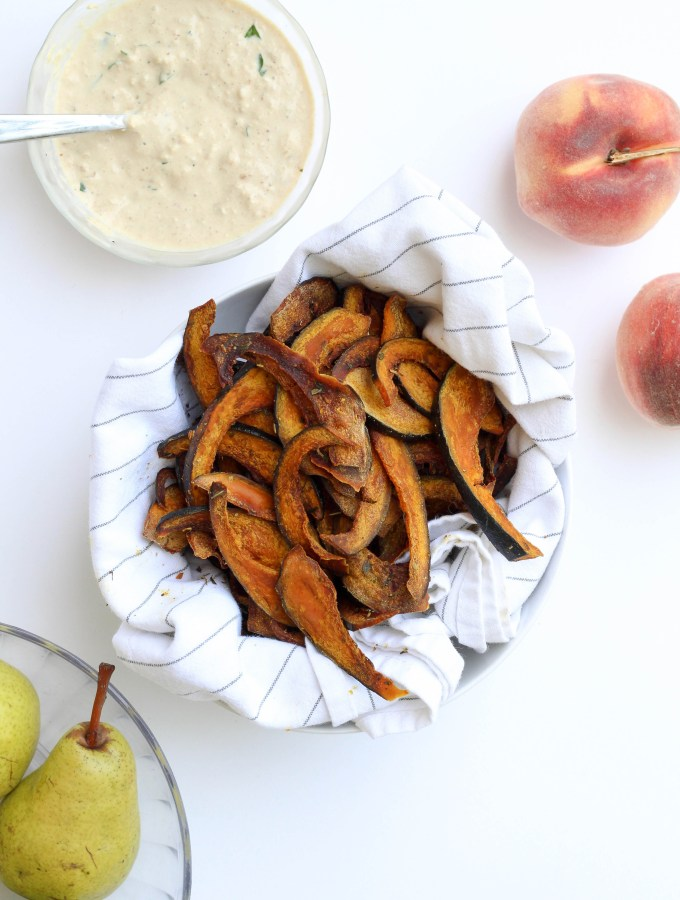 Roasted Squash Chips with Homemade Onion Dip