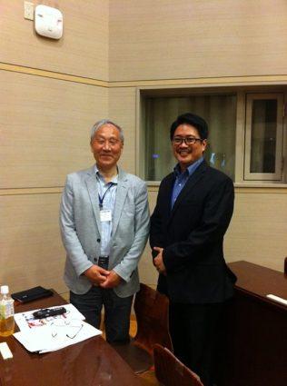 Yap with the creator of the original Nintendo Entertainment System, Professor Masayuki Uemura. (image: Christopher Yap)