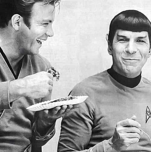Shatner and Nimoy share a meal on the set of 'Star Trek' (image credit: unknown)