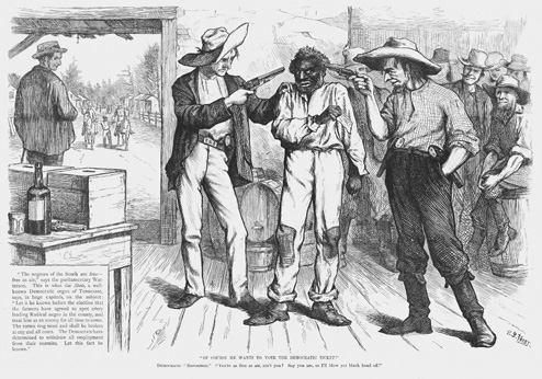 1876 political cartoon depicting a former African-American slave threatened at the ballot box (http://galedc.com/site/uniondale)