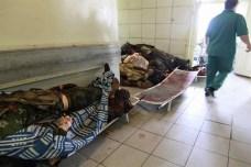 L'obitorio di un ospedale. Non c'è elettricità per mantenere le celle frigorifero. E allora i cadaveri vengono accatastati.