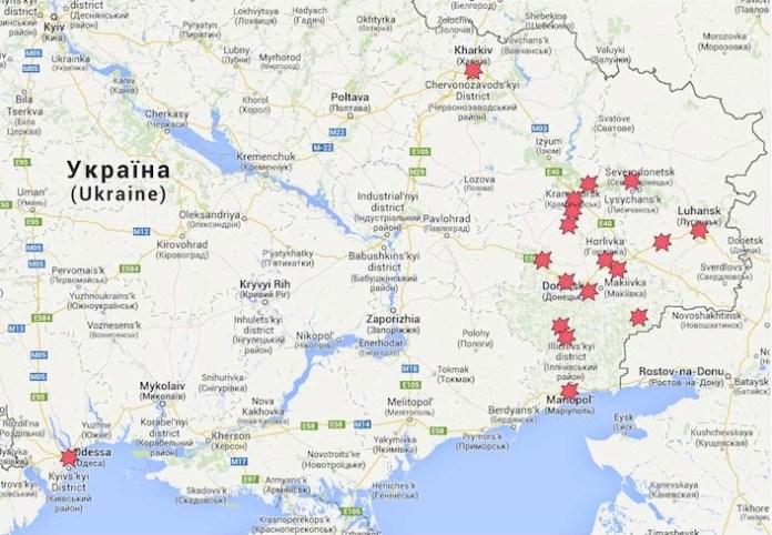 La mappa della guerra civile in Ucraina. Lugansk si trova vicino al confine russo, all'estremo est del Paese.