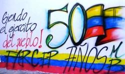 Murale che ricorda i cinquant'anni di nascita delle Farc.